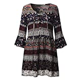 Women Loose Dresses Three Quarter Butterfly Sleeve V Neck Boho Casual Above Knee Mini Dress Navy