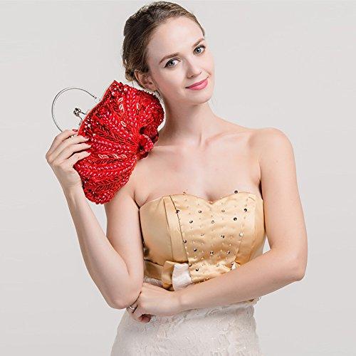 Flada Vintage hecho a mano de cuentas de flores noche bolso de embrague para las mujeres bolso de la boda Pink