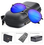 LUENX Aviator Polarized Sunglasses for Men : UV 400 Protection Dark Blue Mirror Lens Black Frame 58mm with Elegant Glasses Case