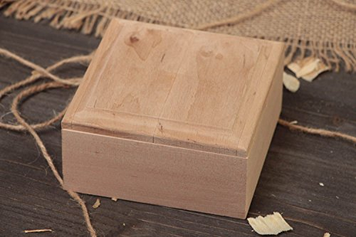 - Handmade alder wood craft blank jewelry box square flat with removable lid art supply