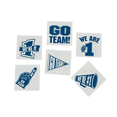Fun Express Blue Go Team We are Number 1 Tattoos (Set of 72) School Spirit Supplies: Toys & Games