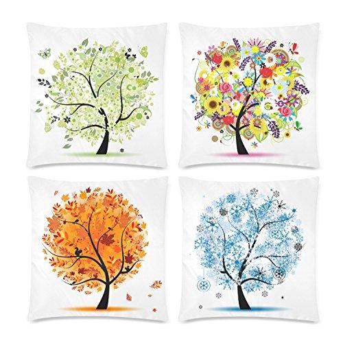 InterestPrint 4 Pack Four Season Spring Summer Autumn Winter Tree Throw Cushion Pillow Case Cover 18x18 Twin Sides, Beautiful Art Tree of Life Zippered Pillowcase Set Shams Decorative
