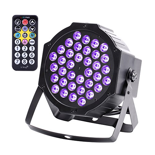(U`king LED Black Light 72W UV Lighting Par Lights Glow in the Dark Supplies Blacklight For Christmas and Birthday Party, Wedding Stage Controlled By IR Remote and)