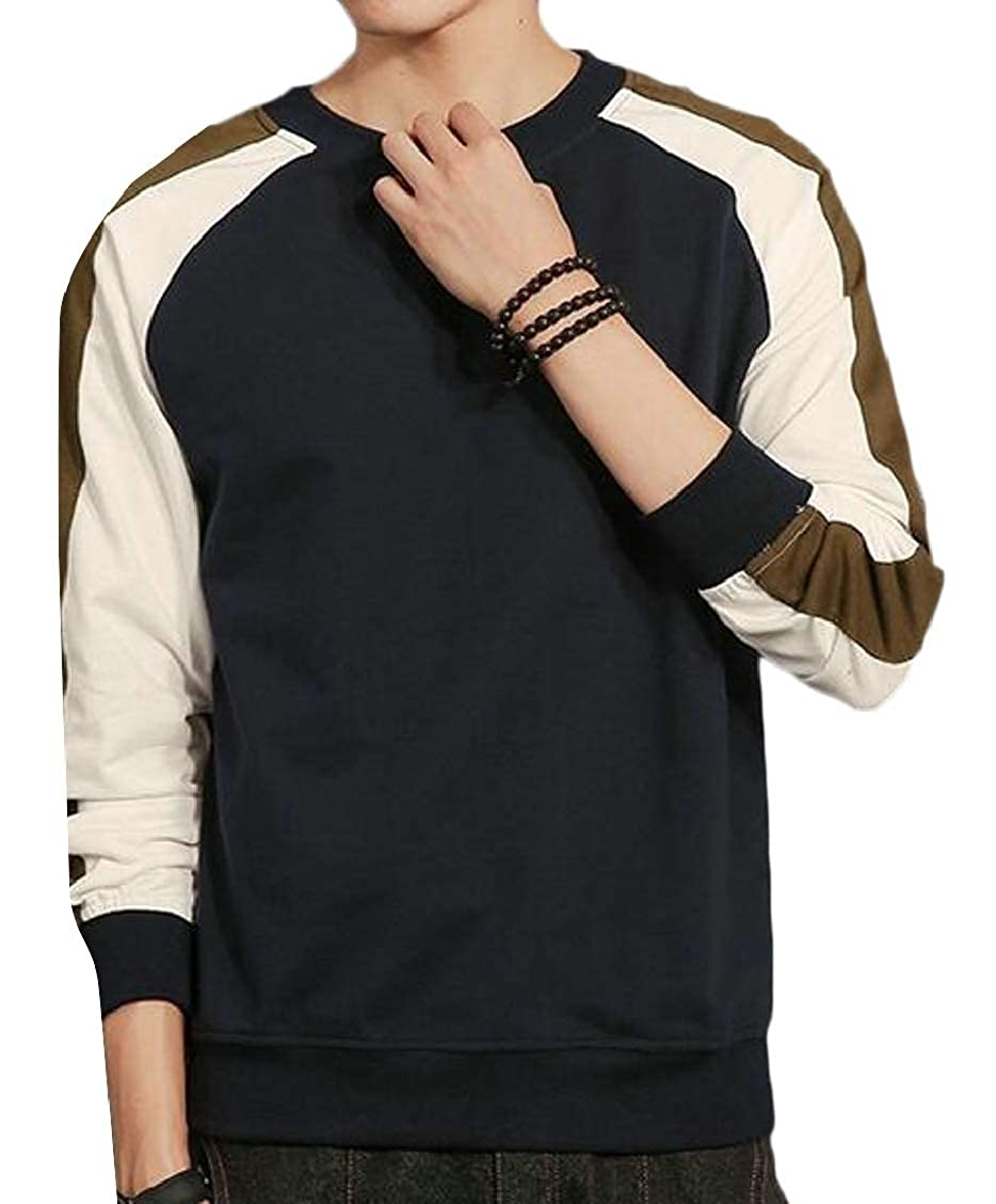 XQS Mens Long Sleeve Round Neck Sweatshirts Casual Pullover Tops
