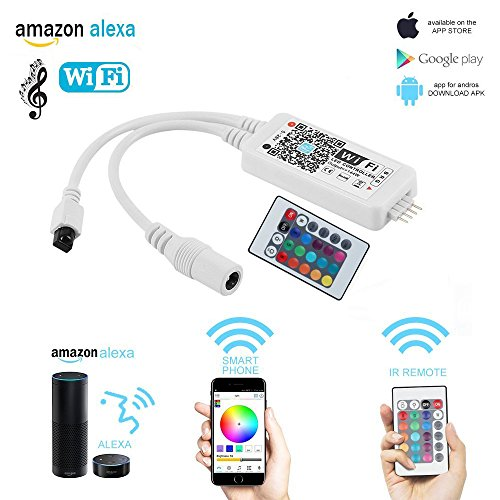 LED Strip Light Alexa RGB Controller WiFi Smart Home Voice Control with IR 24 Keys Remote Compatible on Android and IOS