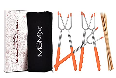 MaMix Marshmallow Roasting Sticks 5 Pack for Campfire, Extra Long 45'' Extendable ,Telescoping Hot Dog Forks for Kids, Camping Fire Pit, Free 10 Bamboo Smores Sticks Skewers + Bonus (Two Dogs Designs Fire Pit Cover)