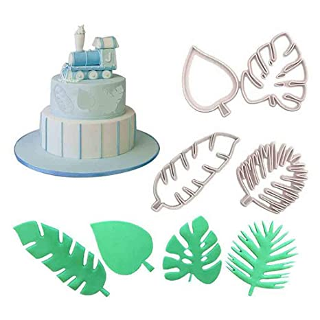 4Pcs Tropical Leaf Fondant Cake Mold Embossed Candy Biscuits Cookie Cutter Mould