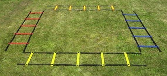 Boje Sport Escaleras de coordinación 4 x 2 m, 4 Colores, peldaños Ajustables: Amazon.es: Deportes y aire libre