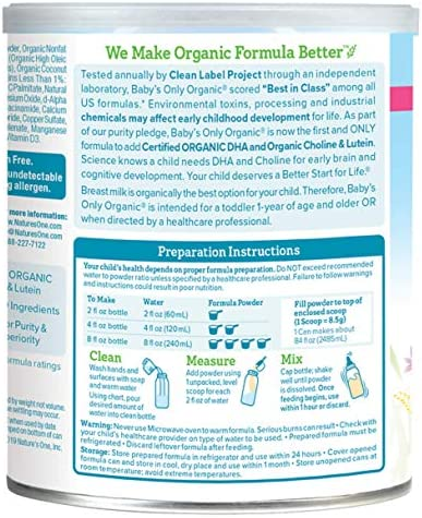 51%2BKMKMZgHL. AC - Baby's Only Dairy Whey Protein With DHA Toddler Formula - Non GMO, USDA Organic, Clean Label Project Verified, 12.7 Oz (Pack Of 6)