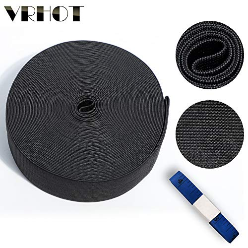 1.5 inch Elastic Band Spool Wide Elastic Bands for Wigs 11 Yards Black Thick Knit Elastic Waistband Roll Elastic Strap for Sewing Wide Elastic Cord Sew Tools VRHOT (Black, 1.5 inch x 11 Yard)