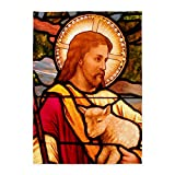 5' x 7' Area Rug Jesus Christ Lamb Stained Glass