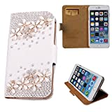 iphone 4s case bling crystal - xhorizon TM Premium Leather Flip 3D Bling Rhinestone Diamond Crystal Stand Wallet Case ZY for iPhone 4/4s/5/5s/6/6 Plus Samsung GALAXY S3/S4/S5/Note2/Note3/Note4/S3 Mini/S4 Mini