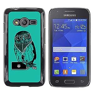 TopCaseStore / la caja del caucho duro de la cubierta de protección de la piel - Cool Party DJ Owl - Samsung Galaxy Ace 4 G313 SM-G313F