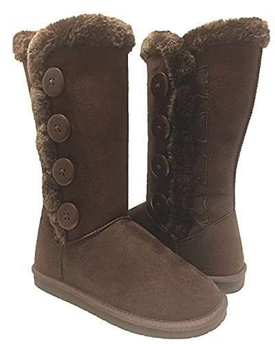 Shoes Fur Faux Brown Snow Calf Mid 02 New Buttons Winter Soft Women's Flat Boot 4 PwdA1x6qTq
