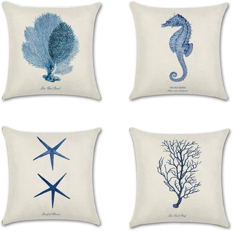 Unibedding Nautical Throw Pillow Covers 18x18 Outdoor Coastal Theme Decorative Ocean Beach Cotton Linen Cushion Cover For Patio Sofa Bed Chair Blue 4 Pack Amazon Ca Home Kitchen
