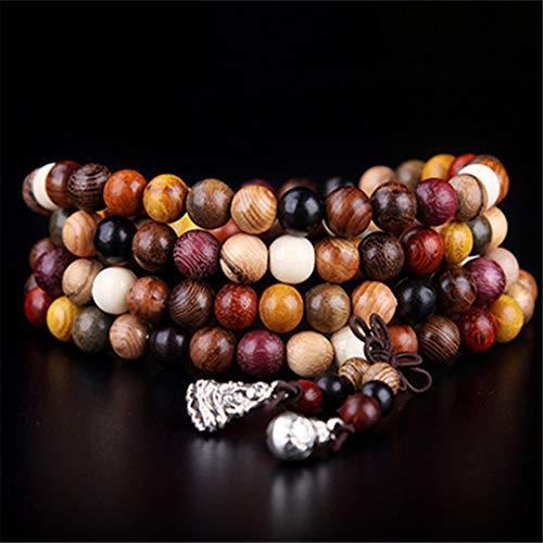 - 108Pcs Variety Of Sandalwood Tibetan Buddhist Prayer Beads Bracelets Buddha Rosary Wooden Charm Bracelet Bangle Diy 6mm 108