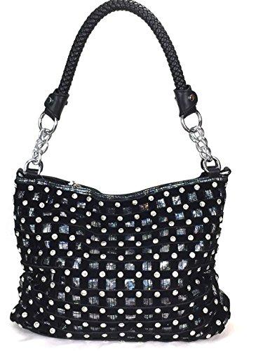 Zzfab Sparkle Rhinestone Suede Hobo Handbag Black