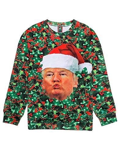Ugly Christmas Sweater Style 3D Men Women Cat T-Rex Trump Pullover Sweatshirt Trump XX-Large (Jumpers Ugliest Christmas)