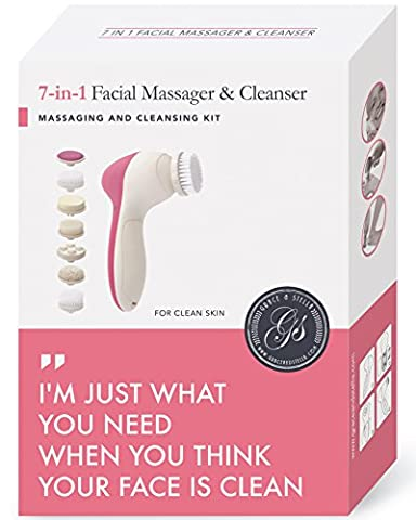 7-in-1 Spin Facial Brush for Perfect Skin – Portable, Water Resistant & Multi-Purpose: Exfoliate Dead Skin, Remove Makeup, Remove Calluses, Stimulate Collagen, Microdermabrasion & More!