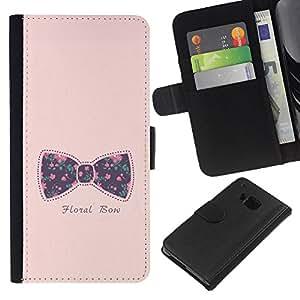 Planetar® Modelo colorido cuero carpeta tirón caso cubierta piel Holster Funda protección HTC One M9 ( Bowtie Bow Pink Text Floral Baby Purple )