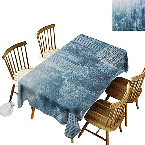 DONEECKL Winter Home Decoration Tablecloth Anti-Overflow Tablecloth Snow in New York City Image Skyline with Urban Skyscrapers in Manhattan USA White Pale Green W60 xL120 -