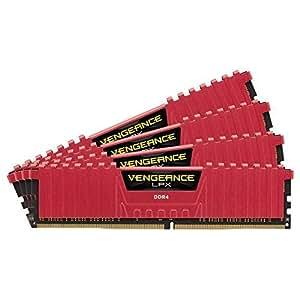 Corsair CMK16GX4M4A2666C16R Vengeance LPX 16GB (4x 4GB) DDR4 2666Mhz CL16 XMP 2.0 High Performance Desktop Memory Module - Red by Corsair