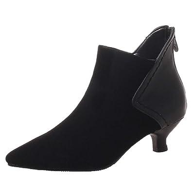 f9351e0d18 Vitalo Womens Kitten Heel Pointed Toe Ankle Boots Zip Up Autumn Winter  Booties (3.5 UK