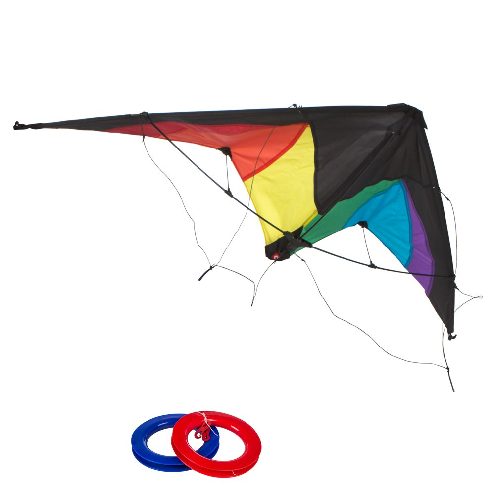 ColorBaby - Cometa acrobática Pop-Up Magic 125x72 cm - color arcoíris (85092)