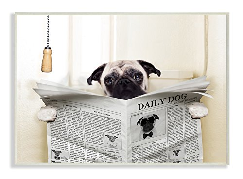 The Stupell Home Decor Collection Stupell Industries Pug Reading Newspaper in Bathroom Wall Plaque Art, 10 x 0.5 x 15, Proudly Made in (Pug Plaque)