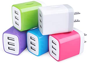 Charging Block,Sicodo 3-Port Travel USB Wall Charger 5 Pack 3.1Am Block USB Adapter Power Plug Charging Station Box Compatible with iPhone X/8/7/6S,iPad,Samsung and Other USB Plug Devices