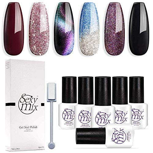 Sexy Mix Gel Nail Polish Soak Off UV LED Nail Lamp - 6 Colors Nail Collection Rainbow Glitter Gel Cat Eyes Color Changing Chameleon and Black Nail Polish