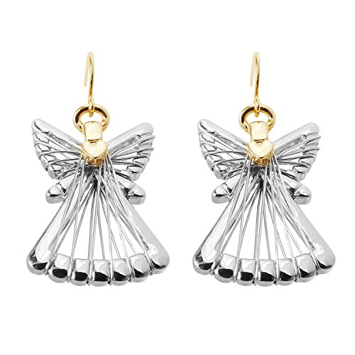 Angel Earrings Gold (Silver Gold Two Tone Angel Dangle Earrings For Women Girls Christmas Gifts Alloy RareLove)
