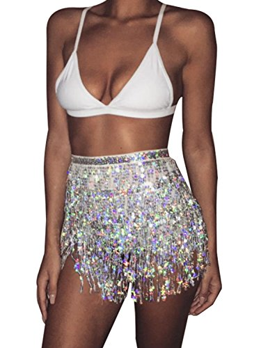 Glamaker Womens Summer Beach Wrap Sequins Tassel Mini Skirts Belly Dance Hip Scarf Belt ,Silver,One Size