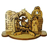 Zuluf Small Olivewood Olive Wood Round Laser Nativity Scene Spiritual Gift - NAT002