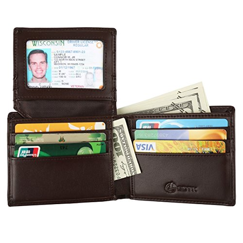 GDTK RFID NFC Blocking Luxury Soft Genuine Leather Wallet for Men With Gift Box (Brown)