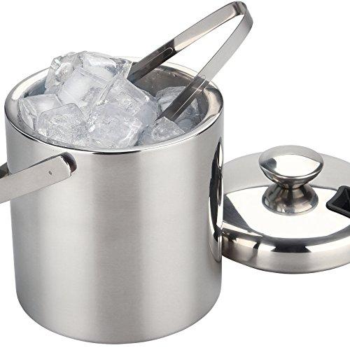 Eiswürfelbehälter Eiskübel mit 1,3l Fassungsvermögen inkl. Eiswürfelzange, Deckel und Halterung