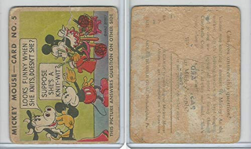 R89 Gum Inc, Mickey Mouse, Type 1, 1935, 5 Looks Funny When She Knits