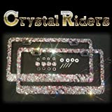 PAIR OF 2 1500 SWAROVSKI Bling License Plate Frame with Crystals Ab Iridescent Clear Metal Chrome Zink Alloy Holder Sparkly Sparkle Custom Hand Made Hand Crafted SET screw caps cover anti theft -  CRYSTAL RIDERS
