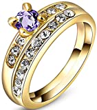 TEMEGO 18k Yellow Gold Plated Wedding Band Engagement Ring Set,Purple Amethyst Small CZ 2-in-1 Set