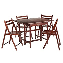 Drop Leaf Table with 4 Folding Chairs