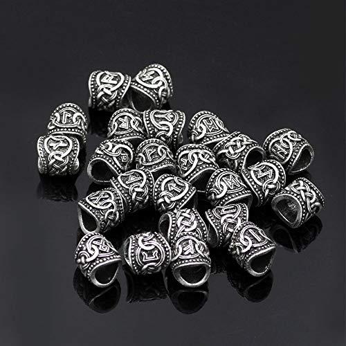 24 Unids Plata Oro Vikingo Runas Granos Encantos Para Pulseras Collar Colgante Barba O Pelo Nórdico Antiguo Viking Hombre...