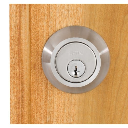 Omnia D9000A Single Cylinder Auxiliary Deadbolt from the Stainless Steel Collect, Brushed Stainless Steel