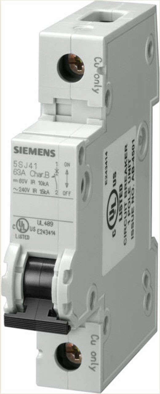 Siemens 5SJ41027HG40 Miniature Circuit Breaker, UL 489 Rated, 1 Pole Breaker, 2 Ampere Maximum, Tripping Characteristic C, DIN Rail Mounted, Type HSJ, 240 VAC, 60 VDC