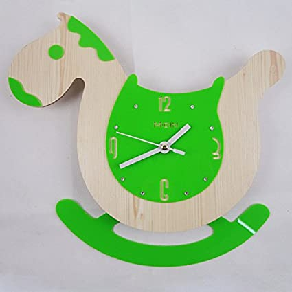 Piano LFNRR relojes originales para niños columpio caballo de madera reloj de pared,verde