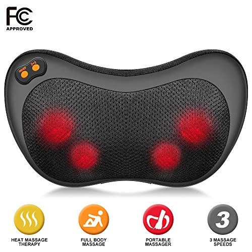 Ophanie Shiatsu Back and Neck Massager Pillow with Heat, Deep Kneading Massager for Neck Back Shoulders & Legs; Portable Massager for Home, Office & Car - Black
