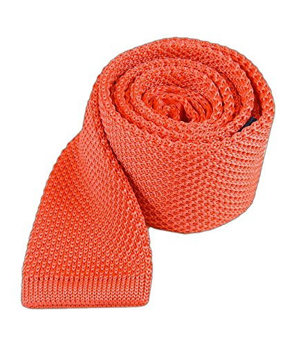- The Tie Bar 100% Knitted Silk Coral Solid Knit 2 3/4 Inch Tie
