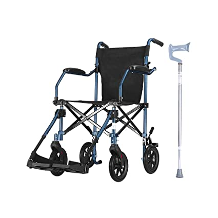 ZJⓇ Wheelchair Wheelchair, Aluminum Alloy Elderly Disabled Manual Wheelchair Small Light Foldable Portable Travel