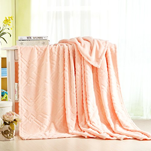 Cheap Soffte Cloud Super Soft Warm Weighted Velvet Fall Peach Plush Blanket Throws for Couch Full Size (79