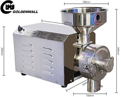 CGOLDENWALL SY-1200 No base Small Stainless steel grain mill Food Processing Machinery Multi Function Grain Grind Mill superfine grain grinderPowdering machineLapping machine (220V) by CGOLDENWALL