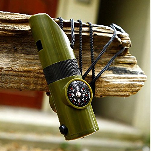 1 Pc Impressive Unique LEDs Flashlights Keychain Mini Small Pocket 7in1 LED Flashlight Light Coast Bright Brightest Waterproof Camping Military Tactical Mirror Compass Viewfinder Color Olive - United Lens Blanks Mirror